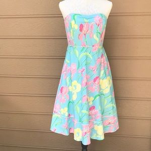Lilly Pulitzer Blue Strapless Dress Size 6